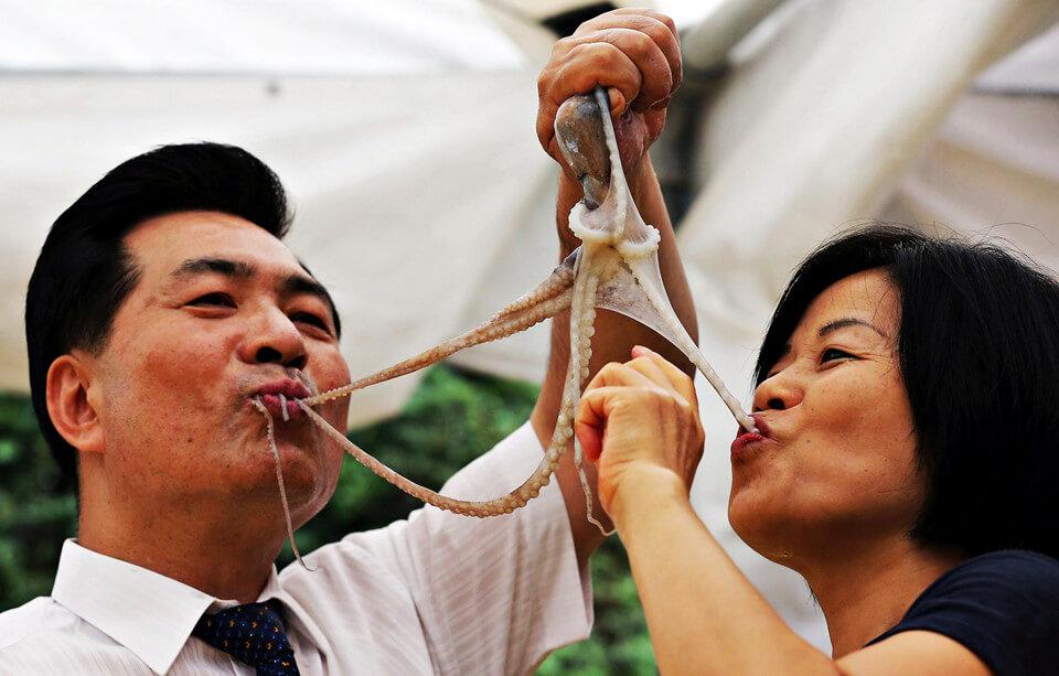 Người Hàn rất thích ăn món bạch tuột sống