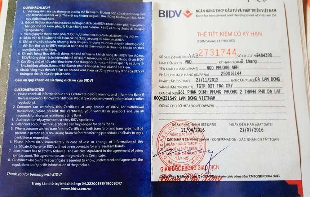 Sổ tiết kiệm có kỳ hạn ngân hàng BIDV