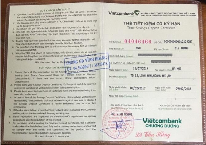 Sổ tiết kiệm có kỳ hạn Vietcombank